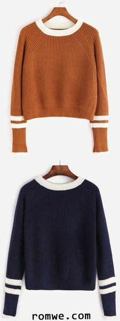 Contrast Neck Striped Trim Sweater