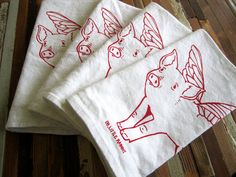 Screen Printed Organic Cotton Cloth Napkins - Eco Friendly Dinner Napkins - When Pigs Fly Illustration - Reusable