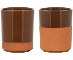 Zestaw kubków Duo, 2 szt. z Terakota od Bloomingville: nakryj swój stół z produktami wysokiej jakości dostępnymi na >> WestwingNow.