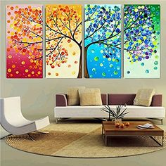 Colourful Leaf Trees 4 Piece Painting Wall Art for Home Decor - Teme Store vintage home decor ideasideas home decorhomes and decorhome decor decorationhome decor diy home decor printablehome decor pallets home decor signshome decor and ideasrust Home Decor Signs, Cheap Home Decor, Diy Home Decor, Decor Crafts, Colorful Wall Art, Colorful Trees, Tree Canvas, Canvas Wall Art, Bedroom Canvas
