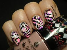 Neon pink geometry nails My Favorite Part, My Favorite Things, Plated Reviews, Stamping Plates, Geometry, Nail Art, Nails, Pink, Neon