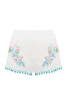 Primark - Witte shorts afgezet met pompons