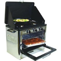 Camp Chef Camping Outdoor Oven with 2 Burner Camping Stove. Wow! This has an oven!