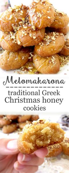 These amazing Traditional Greek honey cookies are very soft, soaked in syrup and coated with honey and walnuts. A scrumptious Christmas treat you shouldn't miss! More from my site Melomakarona: Honey Cookies With Walnuts Melomakarona Honey Recipes, Baking Recipes, Dessert Recipes, Healthy Recipes, Greek Food Recipes, Healthy Foods, Greek Cookies, Honey Cookies, Greek Sweets