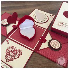 Stampin' Up! - Explosionsbox für einen Heiratsantrag - Bellas Stempelwelt - Explosionsbox mit Ringetui, Hochzeitsantrag, Blüten der Liebe, Perfekter Tag