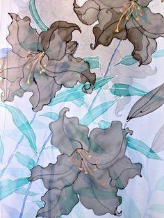 Hand Painted Silk Shawl Blue Silk Shawl by SilkScarvesTakuyo