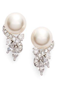 'Pearl Essence' Cubic Zirconia Stud Earrings