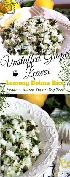 Unstuffed Grape Leaves – Lemony Dolma Rice is bursting with flavor and full herbs makes my mouth water. One of the only problems with this dish is that once you start eating it, you can't stop. It's vegan, gluten free and soy free too! thehiddenveggies.com