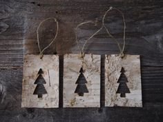 Birch Bark Christmas Tree Cut-Out Ornaments - Set of 3