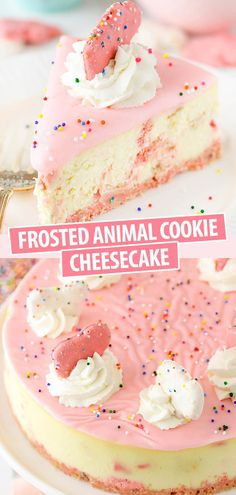 This Frosted Animal Cookie has frosted circus animal cookies in the crust and throughout the cheesecake! It's thick, creamy and topped with fun pink-colored white chocolate and sprinkles – much like the animal cookies! Homemade Cheesecake, Cheesecake Cookies, Cheesecake Recipes, Cookie Recipes, Cheesecake Bites, Cheesecake Frosting, Chocolate Cheesecake, Muffin Recipes, Brownie Desserts