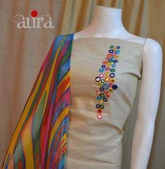 Creative Mirror Work designing On Kurti / Churidar Dress Neck Designs, Stylish Dress Designs, Designs For Dresses, Stylish Dresses, Blouse Designs, Embroidery On Kurtis, Kurti Embroidery Design, Embroidery Neck Designs, Embroidery Suits