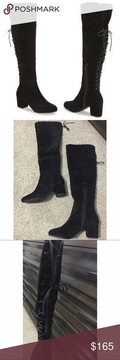 Steve Madden Suede Knee High Boots Back lacing lends romance to HANSIL's dramatic over-the-knee silhouette, while suede uppers take the boot in a timelessly autumnal direction.  A modest block heel flatters w/o forgoing comfort.   ✨Twill lining ✨2.25 inch heel height, 15 inch shaft circumference, & 19 inch shaft height ✨Functional inside zipper ✨Corset lacing along back of shaft Purchased these but sadly my calves are too big .  Brand new & never worn. Made to fit narrow calves.  ✨Offers…