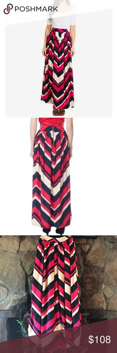 """🌺ELIZABETH McKAY🌺SILK MAXI CHEVRON SKIRT🌺 Stunning piece by Elizabeth McKay RETAIL $239.  100% silk back exposed zipper with top button gathered to flatter your figure fully lined  Lining 100% polyester.  Wear with heels as seen in photo or with flats and a T-shirt super cute either way!!Colors include pink and navy. Waist 12 1/2"""" length 40 1/2"""" Elizabeth McKay Skirts Maxi"""