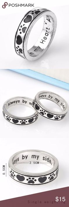 "(C24) Pet Memorial Ring Engraved inside ""always by my side, forever in my heart. If you've lost a pet this is the ring for you. I have this ring in size 6, 8, and 9 Jewelry Rings"