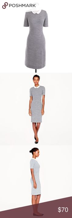 J. Crew Peter Pan collar dress EUC Size 4 J. Crew Peter Pan collar dress Inspired by the Peter Pan collar tee, they created a dress version in a stretchy knit wool. It's what to wear when you don't know what to wear.  EUC like new.   Wool/nylon with silk collar. Back zip. Dry clean. J. Crew Dresses