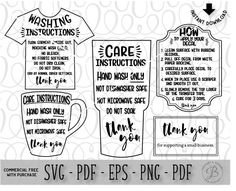 Care Card Instructions BUNDLE Apply Vinyl Decal Print And Vinyl - Custom vinyl decal application instructionscare card printable care card instructions printable care