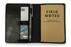 Full grain leather field notes cover journal in black card holder