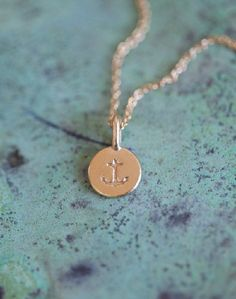 14k Gold Vermeil Tiny Anchor Necklace from Anne Kiel Jewelry