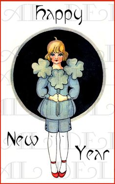 Good Luck In The New Year.  VINTAGE Illustration. New Year's Eve DIGITAL Download. One of our 1.25 Downloads
