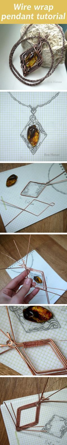 Wire wrap pendant tutorial. Click on image to see step-by-step ~ Wire Jewelry Tutorials