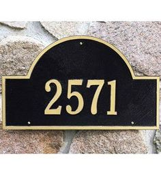 Arch Wall Address Plaque - Estate One-Line by Whitehall. $178.99. Crafted in the USA with rust-free recycled aluminum materials.. Whitehall Address Plaque Features. Click to view samples of the available Plaque Color Combinations .. Materials are weather tested to withstand harsh outdoor elements and provide a lifetime of use.. Address marker is built to provide maximum visibility and meet all local 911 emergency standards.. The estate size Arch Marker Personalized A...