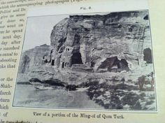Closeup view of the actual image of the caves of the Ming-Oi of Qum Tura from the ASI's official The Bower Manuscript