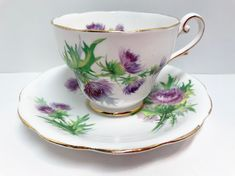 Royal Standard Tea Cup and Saucer Scots Emblem Scottish Cup Scottish Thistle Cup English Bone China Cups Teacups and Saucers Tea Party Antique Tea Cups, Vintage Cups, The Bonnie, Scottish Thistle, China Cups And Saucers, Rose Tea, My Tea, Tea Cup Saucer, Bone China