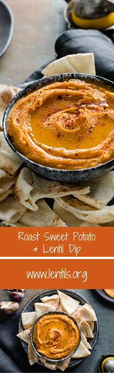 Roast Sweet Potato & Lentil Dip | Recipe at lentils.org This beautiful dip has the superpowers of sweet potato and red lentils, as well as warm and lovely Middle Eastern flavours.  Serve with warm pita bread for a tasty appetizer or snack.