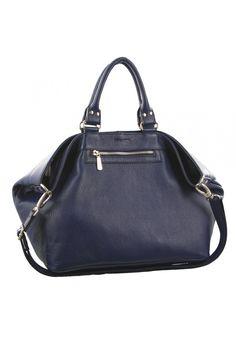 Pierre Cardin - Womens Genuine Italian Leather Navy Double Handle Tote Shoulder Bag