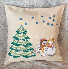 Embroidered Christmas Pillow Cover with Green Christmas Tree Snowflakes and Snowman happy Couple