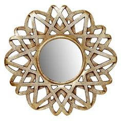 "Wall mirror with a silver and gold-finished openwork frame. Product: Wall mirrorConstruction Material: MDF, polyurethane and mirrored glassColor: Silver and goldDimensions: 30"" Diameter"