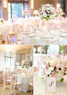 Pink and white reception decor