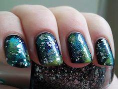 Galaxy nails.  Love dark nails.