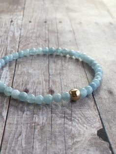 Aquamarine Bracelet / March Birthstone Jewelry / Silver or Gold Bead Bracelet