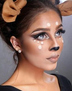 Deer Makeup Deer Perfect for Halloween! 13 Easy Halloween Makeup Ideas that Don't Need Skill Deer Halloween costume Deer Halloween costume - Maquillaje de ciervo por Insane Yet Pretty Halloween Makeup Ideas Visage Halloween, Deer Halloween Makeup, Deer Halloween Costumes, Maquillage Halloween, Halloween Make Up, Pretty Halloween, Halloween Season, Reindeer Makeup, Funny Halloween