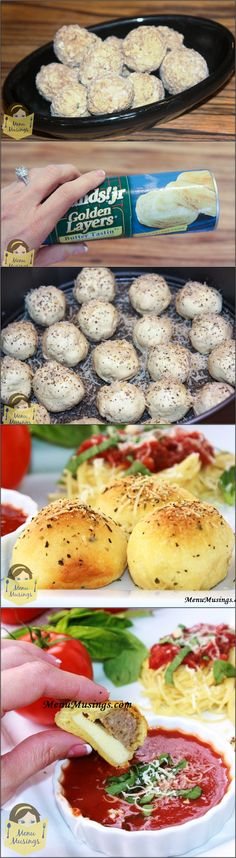 Meatball Stuffed Buns - Looking for another quick and easy family pleaser?  A warm after school snack?  Follow me step-by-step as I use canned biscuits or rolls to make these meatball and cheese filled delights.  Delicious dipped in warm marinara!