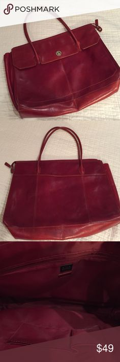 Wilson's Leather red tote Gorgeous red leather tote by Pelle Studio of Wilson's Leather. Very roomy, outer pocket with silver tone snap, inner zip pocket and inner slide pockets.  Very sturdy leather in great condition. Top Rated Seller & Fast Shipper! Reasonable offers, No trades. Pet & smoke free home Wilsons Leather Bags Totes