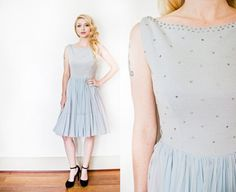 Vintage 1950s Dress Ice Blue Chiffon by dejavintageboutique