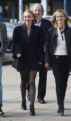 Radiant: Lily-Rose Depp, 16, was in great spirits as she joined her mother Vanessa Paradis...