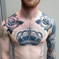 Rose Flower Old School Mens Collar Bone Tattoo Design Inspiration
