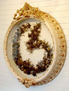 "75"" Antique Vintage Folk Art Victorian Shadow Box Mourning Woven Hair Wreath | eBay"