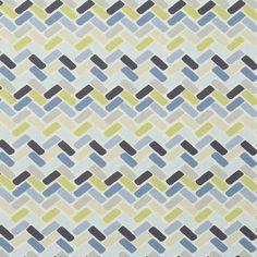 Geometric Navy Blue Grey Upholstery Fabric by PopDecorFabrics