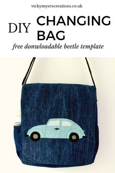 Learn how to make a changing bag from denim, add an applique beetle. The bag has lots pf pockets, perfect for any baby change bag Easy Sewing Projects, Sewing Tips, Sewing Tutorials, Sew Your Own Clothes, Sewing Clothes, Unique Bags, Simple Bags, Changing Bag, Bag Patterns To Sew