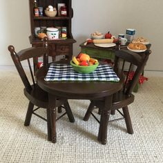 Dark Walnut Round Table and Two Chairs with Reversible Placemat and Bowl of Fruit for 1:12 Scale Dollhouse (additional chairs available by Trishiesminicorner on Etsy https://www.etsy.com/listing/475110325/dark-walnut-round-table-and-two-chairs