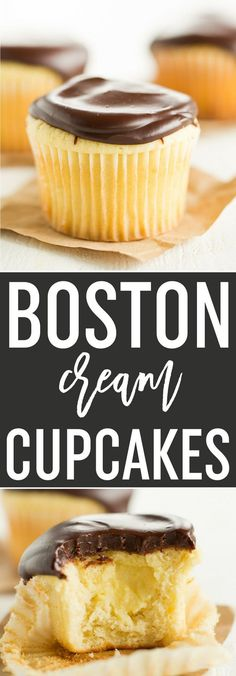 Boston Cream Cupcakes: Vanilla cupcakes filled with pastry cream and topped with chocolate ganache. If you love the flavors of Boston cream, you'll love these! via @browneyedbaker