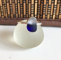 Handmade Sterling silver and sea glass stacker ring  size UK