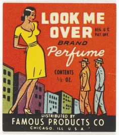 Look Me Over Perfume (1935) #matchbook cover To Design & Order Your #advertisingmatches GoTo: Getmatches.com Today!