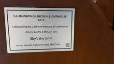 Illuminating Lincoln: Lighthouse art project.  Lightbulb titled: Sky's The Limit located at Nebraska Innovation Campus 2021 Transformation Dr (the old state fair grounds) Lincoln, Ne.  Artists:  Loi Vo and Metal + Art  Sponsored by:  Lincoln Industries and TMCO Inc