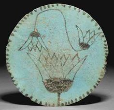 Turquoise Glazed Composition 'Lotus' Plate. 1086-715BC