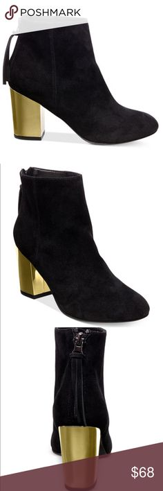 """Steve Madden suede leather-gold tone block heels New without box. Leather suede upper with 3"""" wrapped gold tone block heels. Steve Madden Shoes Ankle Boots & Booties"""